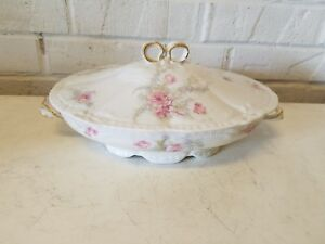 Antique Theodore Haviland Limoges Porcelain Tureen w/ Pink Rose ...