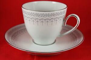 Vintage-Edelstein-Bavaria-Porcelain-Platinum-Cup-amp-Saucer-Lot-of-3-Germany-23235