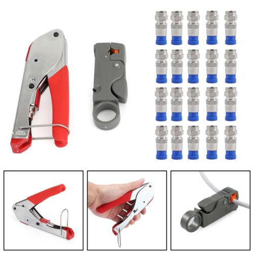 20PCS RG6 Crimp Connectors F-Type Compression Stripper Tool Coaxial Crimper B
