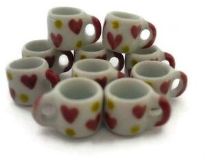 10 Mug Coffee Heart Red Yellow Hand Painted Dollhouse Miniatures Ceramic Food