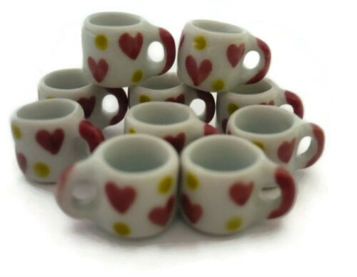 10 Mug Coffee Heart Red Yellow Hand Painted Dollhouse Miniatures Ceramic Food