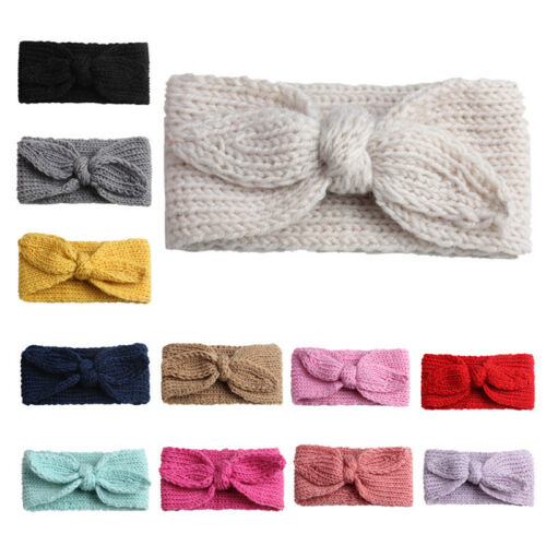 Baby Kids Headband Hairband Wool Knitted Rabbit Ear Solid Warm Headwrap For Girl