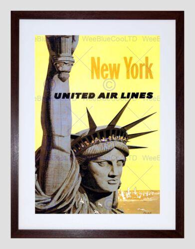 TRAVEL UNITED AIRLINE STATUE LIBERTY NEW YORK VINTAGE ADVERT ART PRINT B12X1753