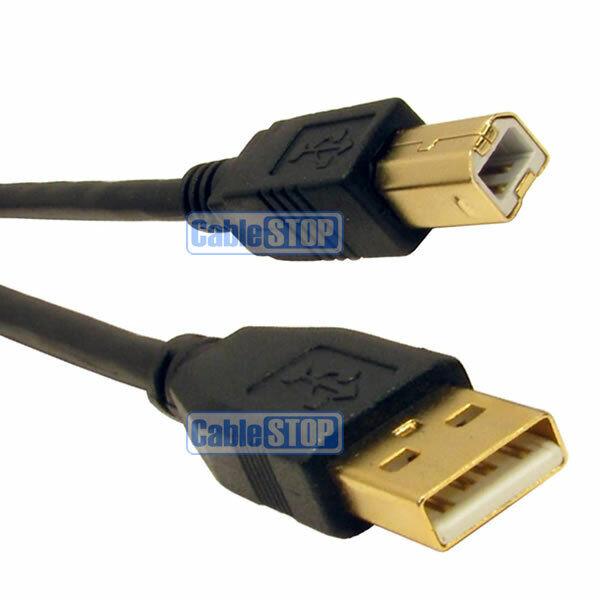 5m GOLD USB PC COMPUTER PRINTER CABLE A to B PLUG EPSON LEXMARK CANON HP LEAD