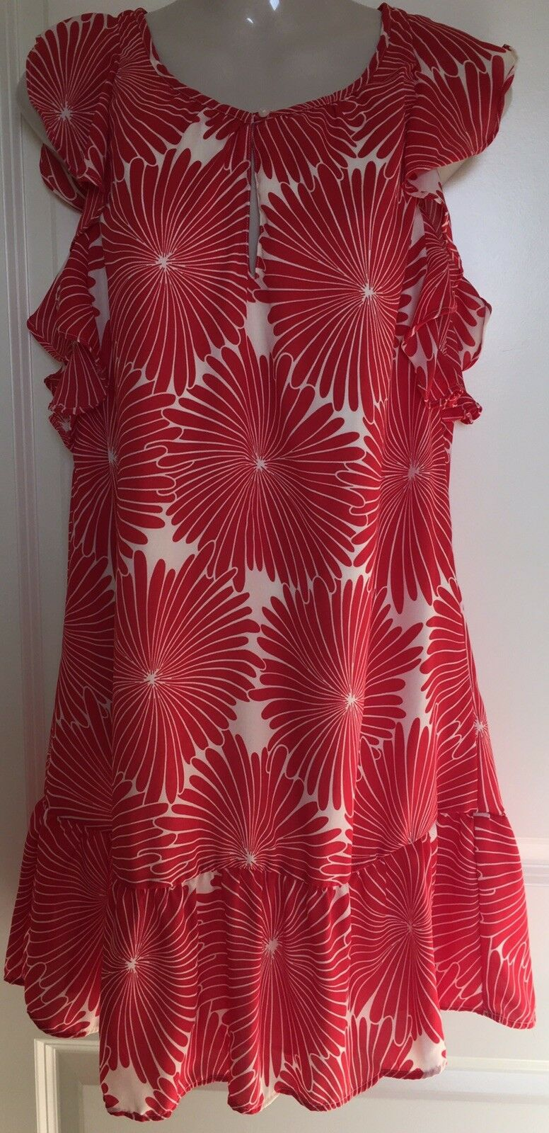 J Crew Dress XS X-Small Printed Flutter Sleeve Red Floral NWT  89 j0841  NEW