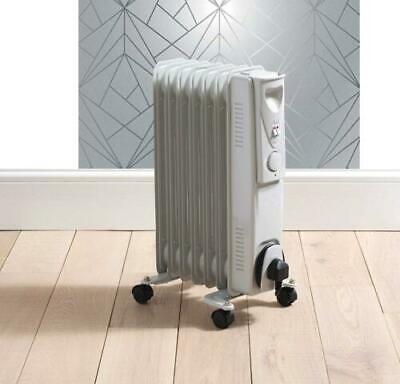 1500W 7 Fin Slimline Black Oil Filled Radiator Heater Thermostat Warmer 1.5kw