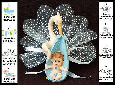 10 x Gastgeschenk BABY Taufe Mevlüt Külah Baby-Shower Battesimo Rosa