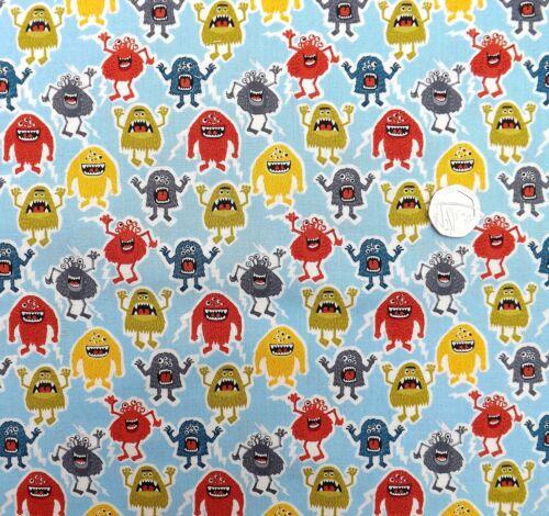 Petits monstres sur bleu tissu fat quarter 50x56cm mk 1400 b 100/% coton