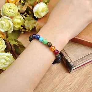 Edelstein-Chakra-Lava-Felsen-Stein-Spacer-Healing-Korn-Armband-Armband-I8U3