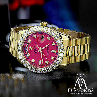 Red Face Diamond Rolex Presidential 18K Yellow Gold 18038 Single Quick Set  717449301741