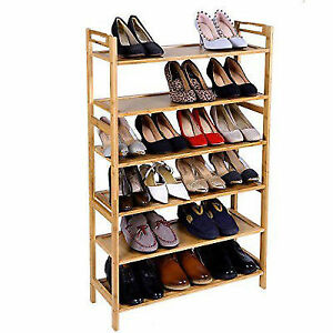 Wooden Shoe Rack Shoes Stand 6 Tier Storage Natural Bamboo Organizer