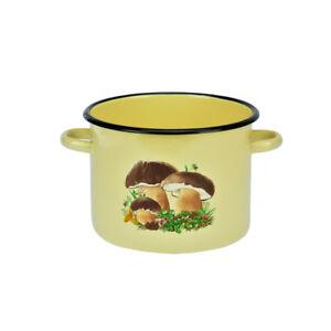 Marmite-Email-Sans-Couvercle-5-5L-Casserole-Poele-Beige-Champignons-22cm