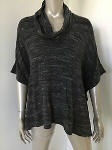 NWT-SPLENDID-WOMEN-138-GRAY-SPECKLED-PONCHO-COWL-NECK-TOP-SHIRT-SMALL-COVER-UP