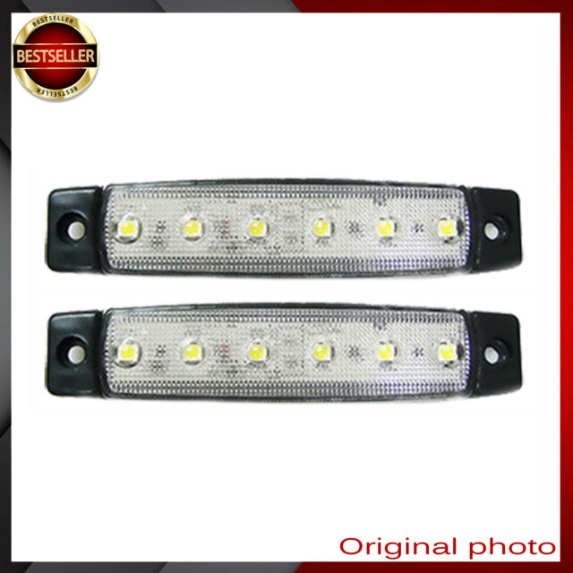 2x 12V SMD 6 LED WHITE SIDE MARKER LIGHTS POSITION TRUCK TRAILER LORRY BUS AA