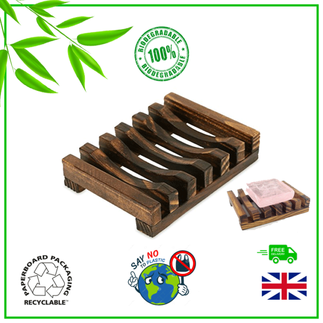 Natural Bamboo Wood Soap Dish Holder Rack Tray Plate Bathroom ✅Biodegradable✅ UK