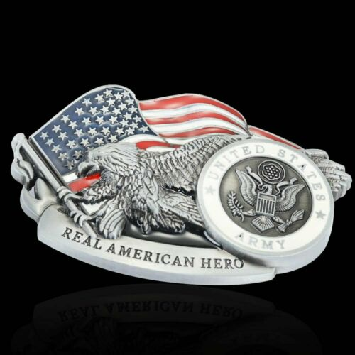 Mens Alloy Metal US Army Eagle Flag Western Vintage Belt Novelty Buckle Antique
