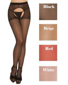 e4bac69b85c Image is loading Sheer-Nylon-Pantyhose-Hosiery-Women-Sexy-Open-Front-