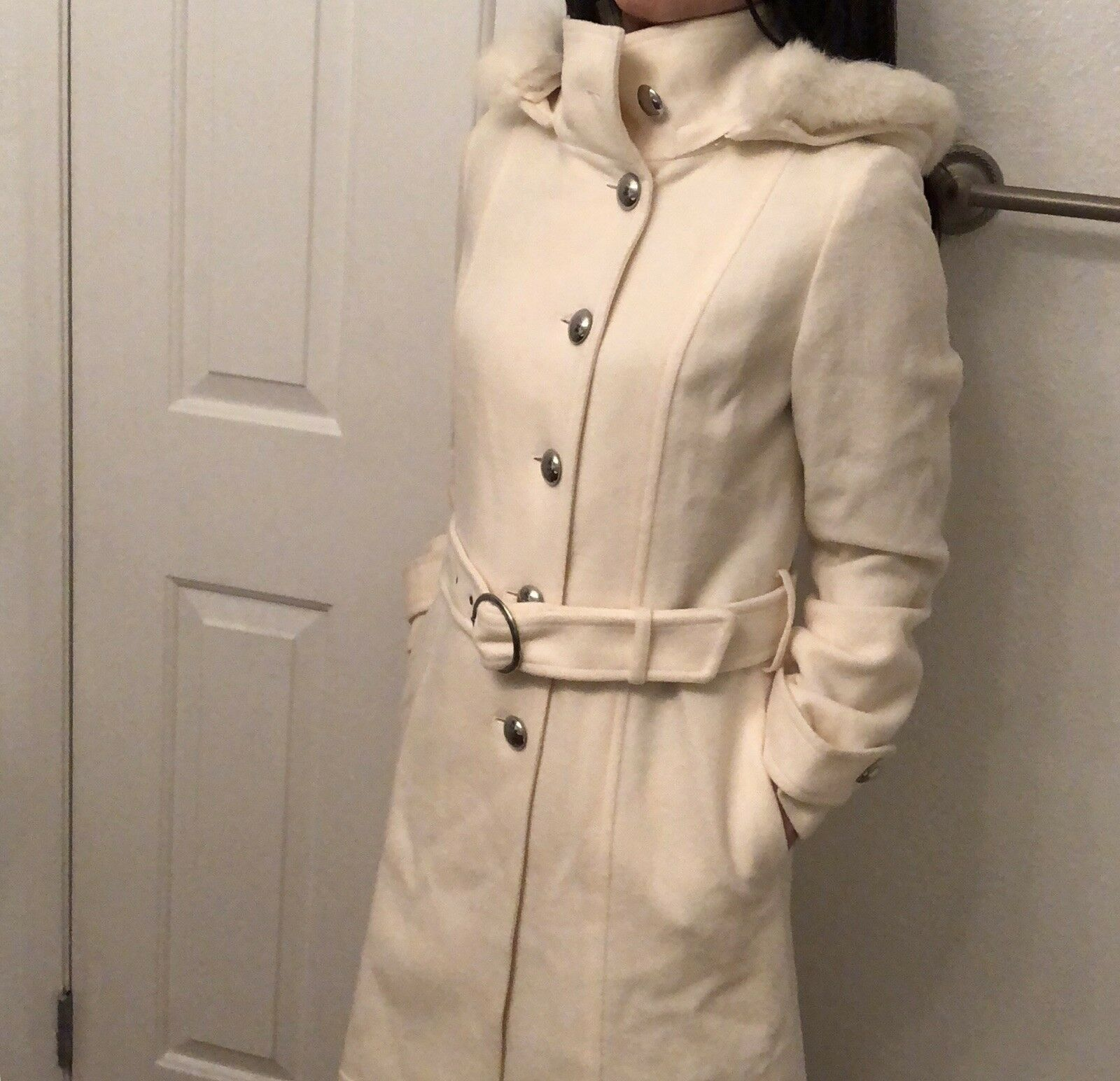 Comme Caism Women Ivory Wool Long Coat