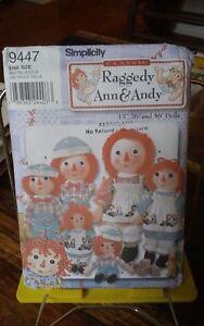 Oop-Simplicity-9447-Classic-Raggedy-Ann-Andy-rag-dolls-15-36-034-NEW