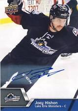 2014-15 Upper Deck AHL JOEY HISHON Autograph Auto Rookie #103 Monsters Avalanche