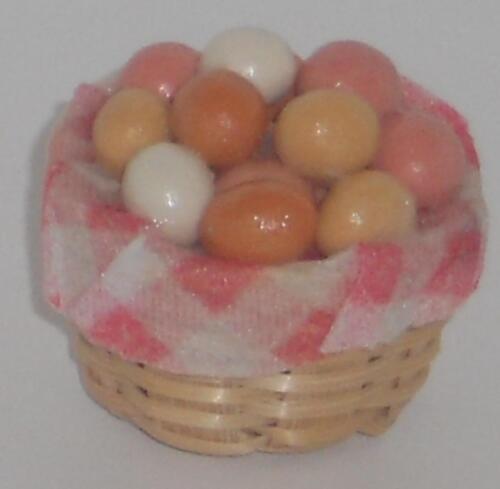 MINIATURA F scala 1:12 Cesta con uova bambole Tube//casa delle bambole #01# D