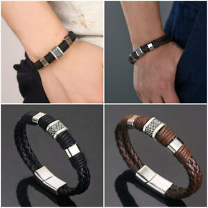 Titanium-Steel-Vintage-Charm-Men-Bracelet-Handmade-Woven-Leather-Cuff-Bangle-New