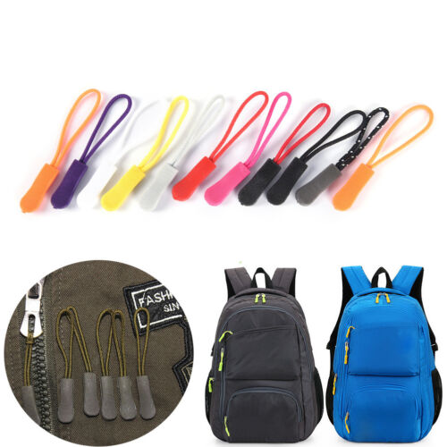 10PCS Zipper Pulls Cord Rope Ends Lock Zip Clip Buckle for Clothing Bags KQ
