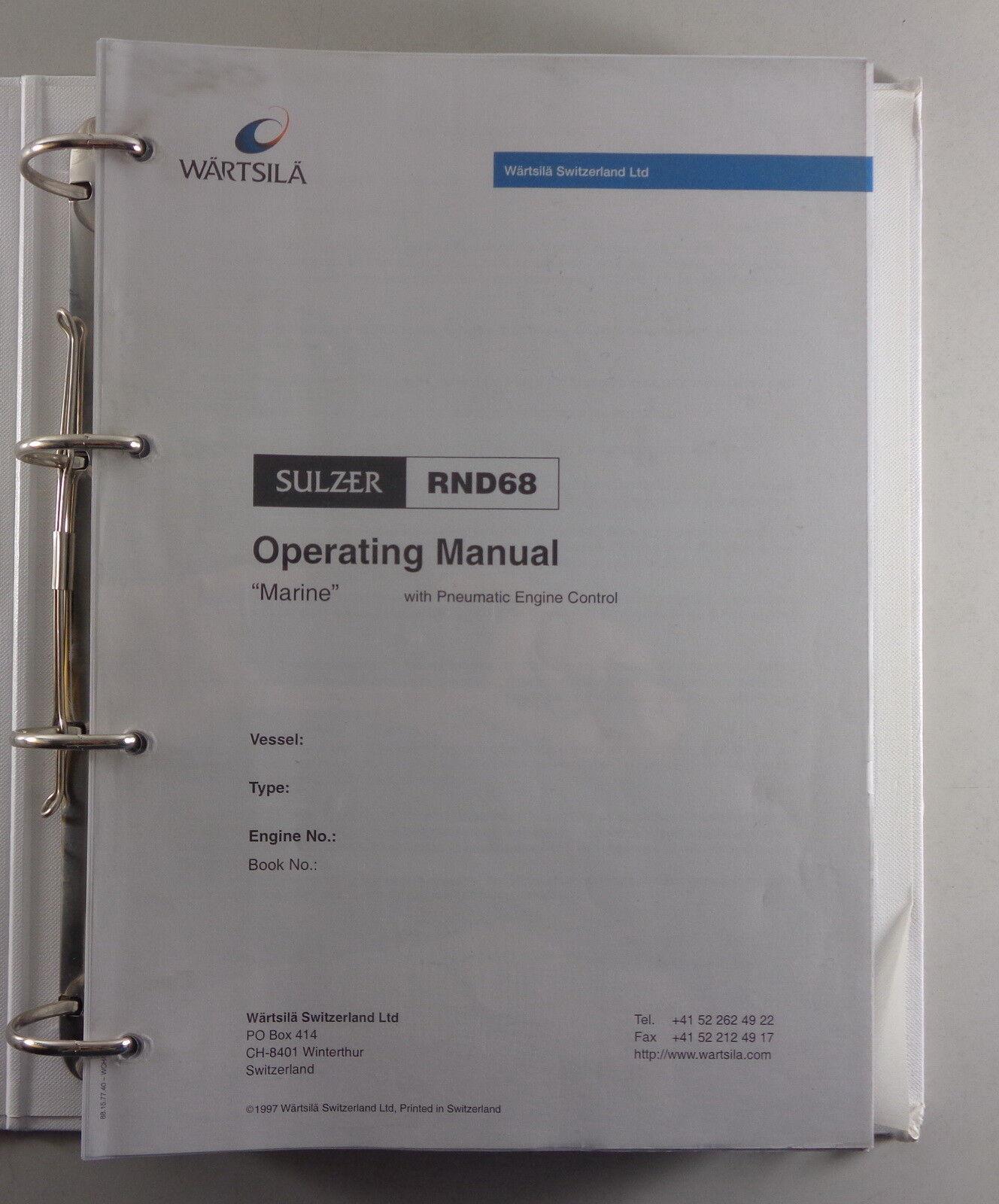 Workshop Manual / Service Instruction Instruction Instruction Sulzer Dieselmotor RND 90 Stand 1997 1eb996