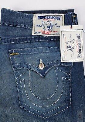 NEW True Religion Jeans Straight Leg Soft Stretch Natural Size 40 w Flaps Men's