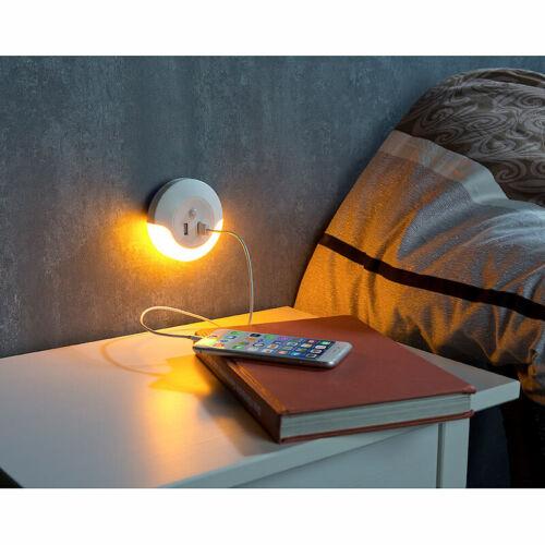 Luminea LED-Steckdosen-Nachtlicht mit PIR und Lichtsensor 2x USB 10 Watt