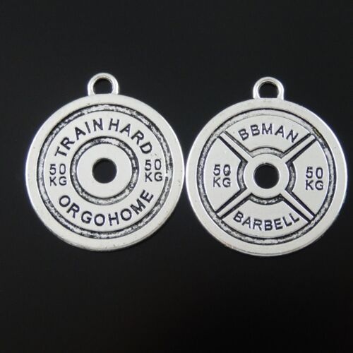 10pcs Vintage Silver Alloy Round Barbell Looked Charms Pendant Jewelry Findings