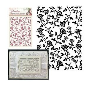 Crafters Companion Rustic Cottage Rose Garden 5 x 7 Embossing Folder