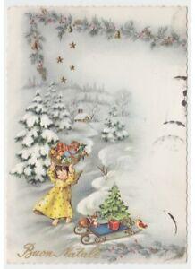 Navidad-Tarjeta-Postal-en-Relieve-Vintage-Angel-Chica-Regalos-Ardilla-Paisaje
