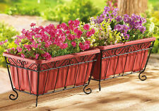 Collections Etc Terra Cotta Garden Planters & Iron Stand - Set of 2