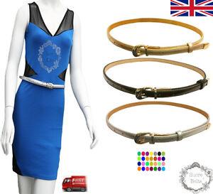 SUCRE cinture ® Donne Moda Skinny Sottile PU Pelle Cintura in Vita UK veloce spedizione  </span>