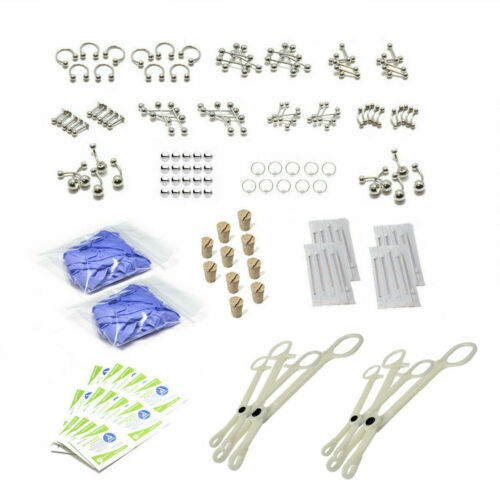 Body Piercing Kit with Surgical Steel Jewelry For All Body Parts 160Pc