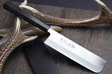 Yoshihiro Blue Steel Nakiri Vegetable Chefs Knife with Stainless Steel Cladding