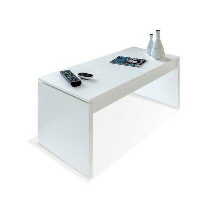 Mesa de centro elevable, mesita auxiliar de salon, Blanco Artik, Side