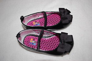82b27c8e0bdcf Details about Baby Toddler Girls SHINY BLACK FLATS DRESS SHOES w/ BOW  Patent Leather Look SZ 5