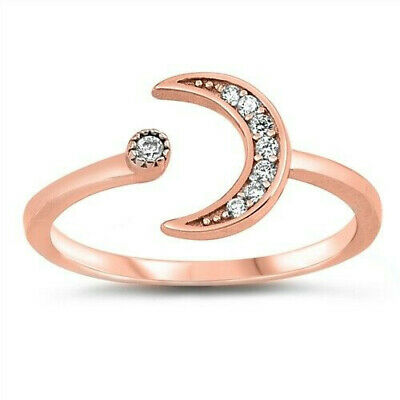 Moon and Star Ring Sterling Silver 925 Rhodium Plated Selectable Height 9 mm