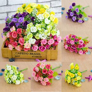 21-Head-Artifical-Plastic-Rose-Silk-Flower-Wedding-Bouquet-Home-Party-Decors