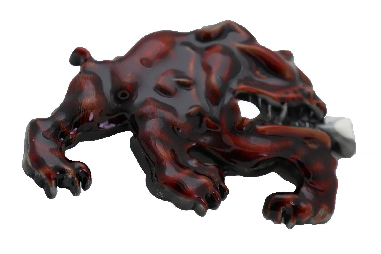 Herren Gangster Kapuze Modische Gürtelschnalle Brown Farbe Metall Bulldogge Hund