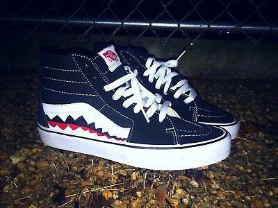 Vans Custom Old Skool Skate High Vans Bape Shark Teeth Custom Shoes ... 9778d7a66