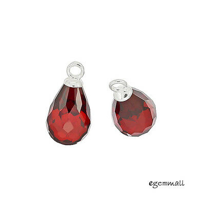 2 Sterling Silver Garnet CZ Teardrop Dangle Pendant Earring Charm Beads #98223