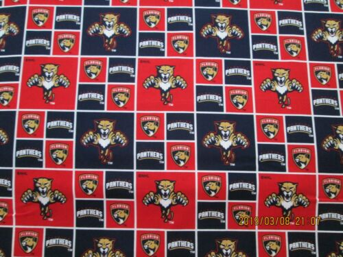 "NHL FLORIDA PANTHERS HOCKEY FABRIC  1 YARD PIECE BRAND NEW 36/"" X 44/"""