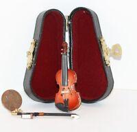 Dollhouse Miniature Violin & Bow W/ Case