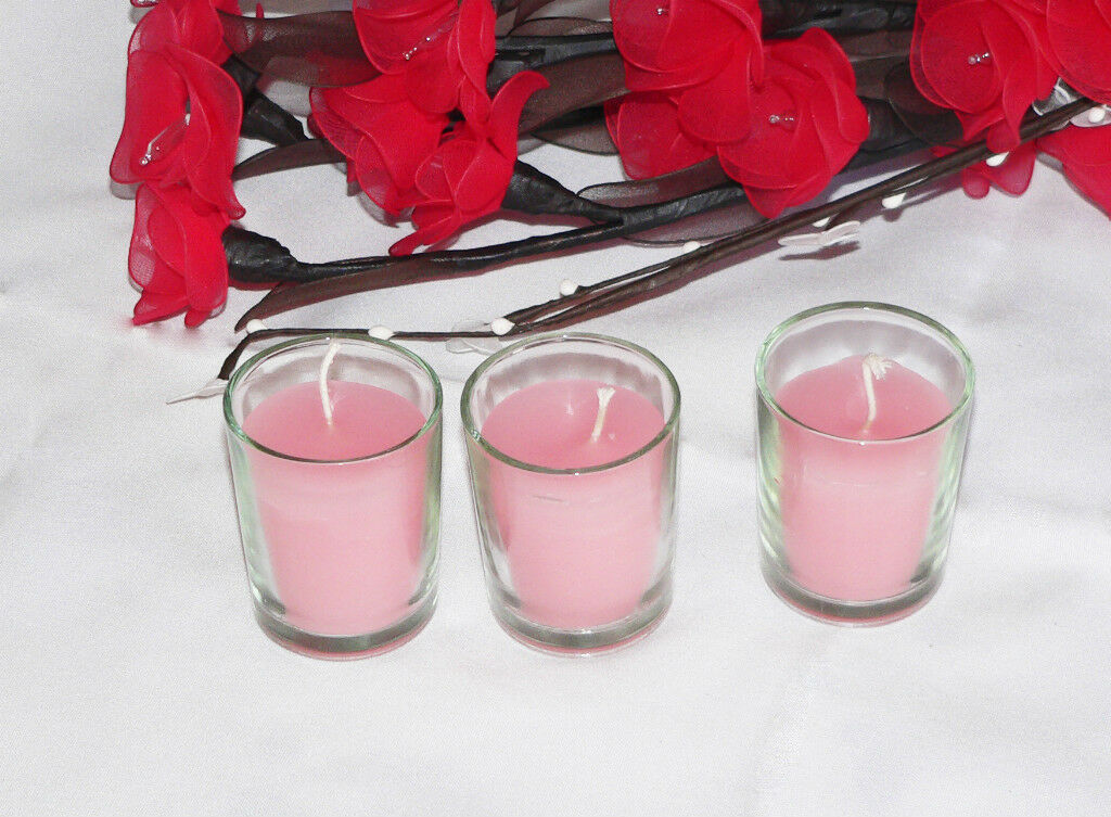100 Wedding Decoration Candles Glass Holder Baby Shower Pink Wax Bomboniere