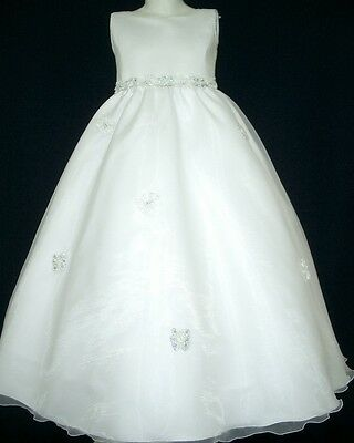 White Flower Girls Dress Communion Confirmation Girl Dresses Sizes 6 8 10 12 14