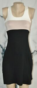 CALVIN KLEIN Ivory Tan Black Stretch Jersey Tank Dress 2 Unlined Above Knee