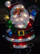 """CHRISTMAS OUTDOOR LIGHTED SANTA CLAUS & TREE STAR TOPPER FIGURE YARD DISPLAY 24"""""""